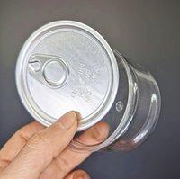 33 * 65mm Klar plast Tenn Kan 100 ml Koncentratförpackning 3.5g Can Container Food Herb Storage med metall Lid Easy Pull Ring Anpassade klistermärken
