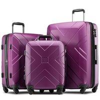 3 Stück Kofferset, tragbarer ABS Trolley 20/24/28 Zoll Lila, ausfahrbare 8-Rad-Dreh Gepäck mit Teleskopgriff, Reisetrolley wi