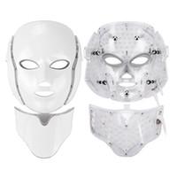 Sale chaude 7 Couleur LED Light Thérapie Visage Beauty Machine LED Masque de cou du visage avec microcarrent pour appareil de blanchiment de la peau