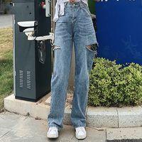 Artsnie Yüksek Bel Mavi Casual Denim Pantolon Kadınlar Bahar 2020 Çift Delik Boyfriends Uzun Pantolon Kadın Gevşek Jeans Mujer Cepler