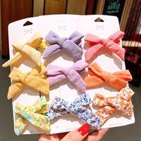 3pcs / Seti Katı Renk Çizgili Kafes Saç Klip Çocuk Baskı Şeker Renkler Tokalar Bebek Kız Saç Aksesuarları Klip ördek gagası