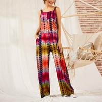 Relaxed Full Length Casuasl Clothing Gradient Striped Overal...