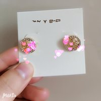with card Letter Circle Diamond Earrings Woman with diamond ...