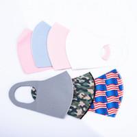 Amerikaanse voorraad volwassen ijs zijde camo vlag print gezicht maskers mode ontwerper masker herbruikbare wasbare beschermende stofdichte Earloop doek maskers