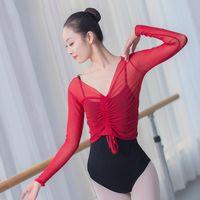 Stage Wear Women See-through Sheer Mesh T-Shirt Crop Top Solid Color Tops Girls Dancewear Latin Ballroom Samba Pratica Costume