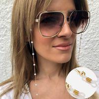 Eyeglasses Corrente Branco Pérola Pérola Charme Eyewear Retentor de Ouro Prata Colorido Silicone Loops Sunglasses Acessório Pulseira