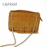 LilyHood 2020 Mulheres Ombro Moda em Couro Bag Lady franjadas borla Suede Feminine Nubuck Cadeia Verde Crossbody Bag