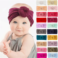 Kapaklar Şapka 21 Renkler Yumuşak Bebek / Kız Çocuklar Toddler Yay Hairband Bandı Türban Büyük Top Kafa Şal Katı Pembe Yaylar Sevimli