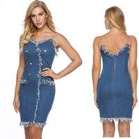 Demin Kleid-Sommer-Spaghetti-Bügel-Ketten-Knopf Backless Reißverschluss-Kleid Frau Art und Weise beiläufige Kleidung der Frauen reizvoller Troddel