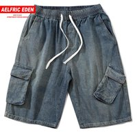 Aelfric Eden 2020 Yaz Patchwork Kot Şort Erkekler Hip Hop Casual Koşucular Streetwear Diz Boyu Erkek Harem Kısa Pantolon Pockets