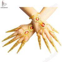 Neue reizvolle Frauen Bauchtanz Tanz Schmuck Tausende Hände Guanyin Bollywood Indien Armbänder Fingernail Zubehör Gold-
