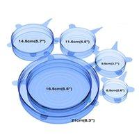 6pcs Set Silikon-Stretch-Staubsaug Pot Lids Food Grade frisch zu halten Wrap Seal Lids Pan-Abdeckung Küche Werkzeuge Zubehör