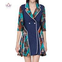 Kadın Trençkotlar 2021 Afrika Dashiki Kadınlar Elbise Turn-down Yaka Bayanlar Giysileri Artı Boyutu 5XL Düzenli WY2817 Için Afrika Baskı Elbiseleri
