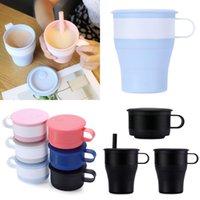 Folding Silikon Cup 16 Unzen bewegliche faltbare Milch Tassen Wasser Im Freien Reise zusammenklappbare Kaffeetasse mit Strohhalme
