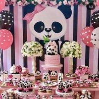 Decorazioni Omilut Panda festa di compleanno fai da te Panda monouso Tovaglia / Piatti / Tazze / bambino carta doccia accessori per la torta Decorat E3nh #
