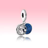 Ay Mavi Gökyüzü Dangle Charm Bilezik DIY Yapma Kolye Kolye Aksesuarları için Pandora 925 Ayar Gümüş Takılar Ile Orijinal Kutu Set