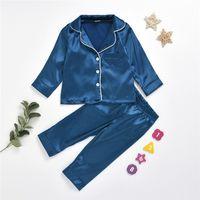 Pijamas de seda de moda Conjuntos de pijamas de verano otoño invierno niños niñas manga larga shirk + pantalones ropa de dormir sólido ropa de dormir niños ropa de hogar LY7292