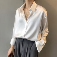 2020 패션 버튼 새틴 실크 블라우스 셔츠 여성 빈티지 화이트 긴 소매 셔츠 탑스 숙녀 우아한 한국 사무실 셔츠