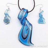 5 ensembles en verre bleu Murano Pendentif Collier Boucles d'oreilles MODE