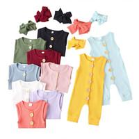 Bebê recém-nascido macacãozinho 10 cores sólidas infantil single-breasted Cores Jumpsuit Toddler Candy Girls mangas Onesies Com Headband 060718