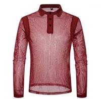 Новая мужская Одежда мужская Sexy See Through Polo Мода Solid Color Полосатый с длинным рукавом нагрудные шеи рубашки поло