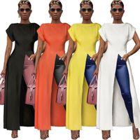 Frauen-Sommer-Kleid-reizvolles Split Hem Maxi lange Kleid-Partei-Bluse Weibliche Büro-Damen Sommerkleid beiläufig plus Größe