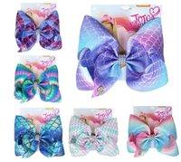 12pcs / lot del arco iris de 8 pulgadas pinza de pelo de la sirena JOJO SWIA Lazo para el cabello para niñas hecha a mano de las escalas de pescados Niños Accesorios bowknot