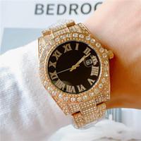Aço cheio de diamantes para fora congelado assistir atacado Homens Moda Bling Relógios inoxidável Quartz Movimento Roma numeral Masculino Esporte Relógio de pulso