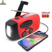 Lâmpada solar multifuncional emergência de rádio manivela USB recarregável clima 1 LED lanterna lanterna banco de acampamento