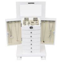 خمر النمط الأوروبي مجلس الوزراء خلط الملابس الجدول اليدوية مجوهرات مربع تخزين مربع، خشبي 7 طبقات، مع 6 أدراج، ذوي الخوذات البيضاء