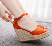 Women 2020 New women' s straw wedges with fishmouth sand...