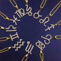 Señal hacia fuera helado collares Zodiac Oro Plata Aries Horóscopo del Rhinestone pendiente de las mujeres de la constelación 12 para hombre del acero inoxidable de la joyería del diseñador