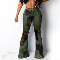 Sexy Women Jeans Camouflage High Waist Plus Size Boyfriend Jeans For Women Mom Denim Bell Bottom Distressed Ripped Mujer