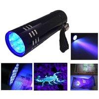 Luce ultravioletta multifunzione luce UV della lampada della torcia Super Mini 9 LED Nero Super Mini alluminio UV della lampada della torcia
