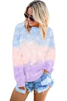 Gradient Striped O- Neck Womens Sweatshirts Loose Spring Autu...