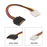Новый SATA к IDE Силовой кабель 15 Pin SATA Женский к Molex IDE 4 Pin Мужской Удлинительный кабель 15см для жесткого диска питания