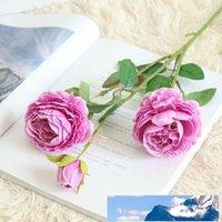 3 teste rosa occidentale artificiale Ranunculus bello bridal decorazione bouquet di fiori romantica mano di seta di nozze per l'hotel domestico