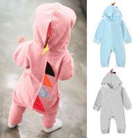Ins Baby Strampler Dinosaurier Infant Boy Overalls Langarm Neugeborenen Mädchen Mit Kapuze Bodysuits Designer Kleinkind Kleidung Baby Kleidung DW4508