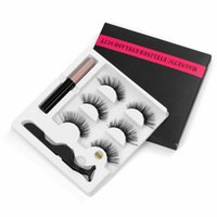 Hot 5 Magnet Eyelash Magnetic Liquid Eyeliner & Magnetic False Eyelashes & Tweezer Set Waterproof Long Lasting Eyelash Extension