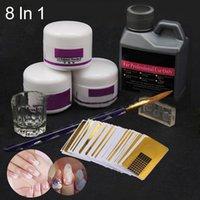 8pcs / set Nail Art Kit Acrílico Líquido Pó Pen Manicure Escova de vidro Dappen prato para Kit manicure