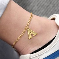 22cm + 7cm Extender Chain   A-Z Initial Letter Anklet for Women Fashion Alphabet Jewelry Gifts Foot Chain Girl Stainless Steel Leg Jewlry