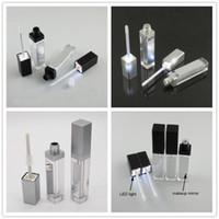 7 ml LED Light Preto Cosmetic batom Containers compõem ferramenta de plástico Praça Concealer Garrafa Lip Gloss tubo com 20pcs espelho