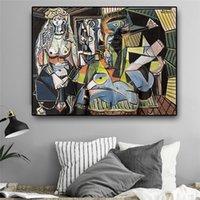Женщины Алжирская Пабло Пикассо Аннотация Картина маслом на холсте картин репродукции плакатов Печать Стена Фото Гостиная Домашнее украшение