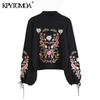 Vintage Chic Floral Embroidery Knitted Sweater Women 2020 Fa...