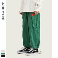 ИНФЛЯЦИЯ Мужчины хип-хоп Jogger брюки с карманами Streetwear 2020 осень Новые поступления Сыпучие Fit эластичный пояс мужчин Jogger 93449W
