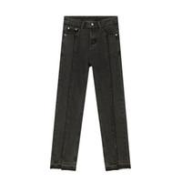 Mens Vintage Old Split High Street Hip Hop Slim Fit Denim брюки Япония Корея Стиль Pant Мужские повседневные джинсы Брюки