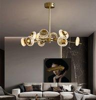 Nowoczesny żyrandol LED Light All Copper Light Luksusowy Kryształ Lampa Prosty Salon Wisiorek Lekki Nordic Restauracja Lampa Wisiorek Netto Red Mol