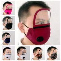2 em 1 Máscara Válvula Face Com protetor facial de proteção viseira Zipper removível Dustproof lavável Facial Máscaras Designer RRA3356
