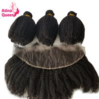 Mongolian Serré Afro Kinky Cheveux Curly Tissain 3 Bundles de cheveux Humains avec 13 * 4 Dentelle Fermeture frontale Remy Atina Queen Hair Products