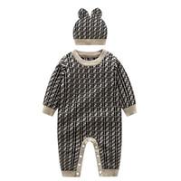 2-piece الوليد الطفل بوي الطفل رومبير محبوك ملابس الطفل بذلة الخريف الوليد رومبير الخريف الخارجي والشتاء سترة سترة بدلة